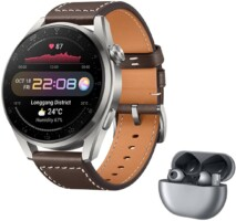 HUAWEI Watch 3 Pro – 4G Smartwatch, eSIM Telephone, Brown Leather Band + FreeBuds Pro, Silver Frost